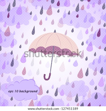 background with rain and umbrella - stock vector