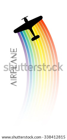 Background with rainbow and airplanes. Vector illustration. Retro biplane, minimalistic style, whirlwind of airplane, for travel agencies, aviation companies. - stock vector