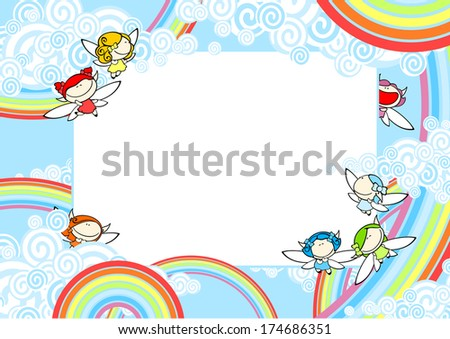 Background with rainbow fairies - stock vector