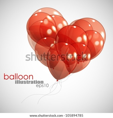 background with red balloons - stock vector