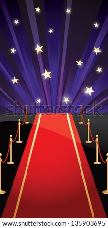 Background with red carpet and stars. Vector illustration EPS 10. CMYK. - stock vector