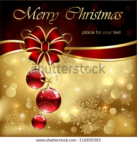 Background with red christmas baubles, illustration. - stock vector