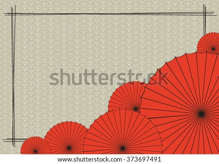 Background with red Japanese umbrella - stock vector