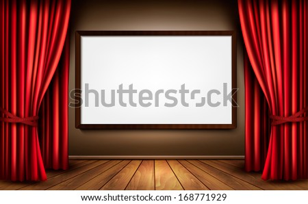 Background with red velvet curtain and a wooden floor. Vector illustration.