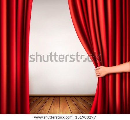 background with red velvet curtain and hand vector - Velvet Curtain