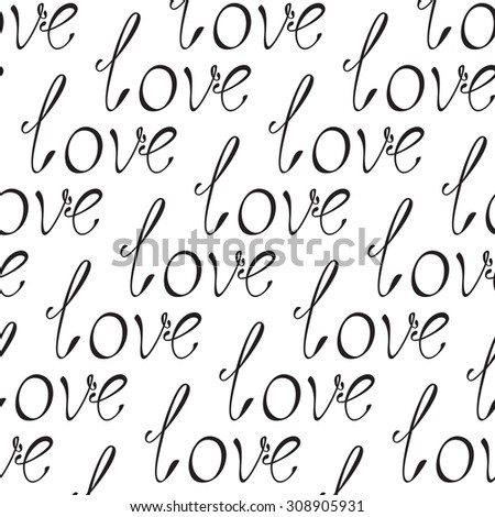 Background with repeating black colored inscription love isolated on white - stock vector
