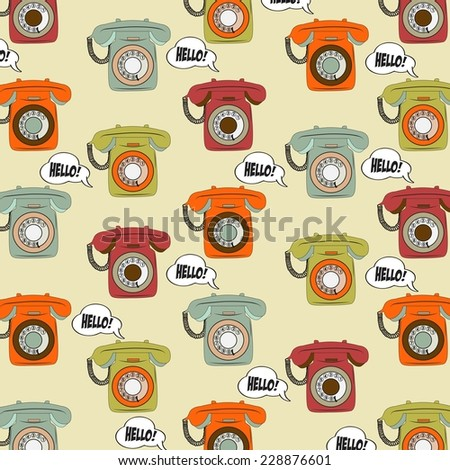 background with retro phone, illustration in vector format - stock vector