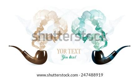 Background with retro pipe and smoke - stock vector