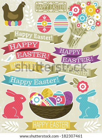 background with ribbon, easter eggs, rabbit and flower, vector - stock vector