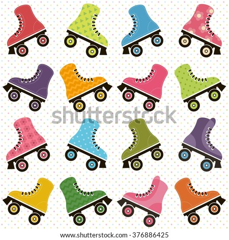 background with roller skates - stock vector
