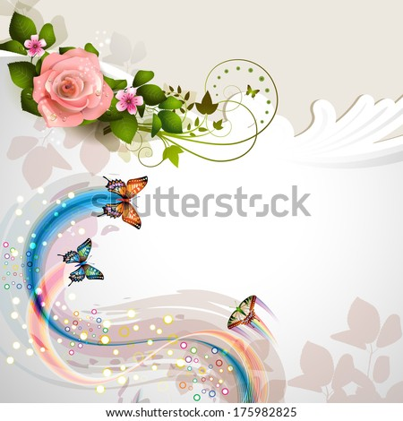 Background with rose and butterflies - stock vector