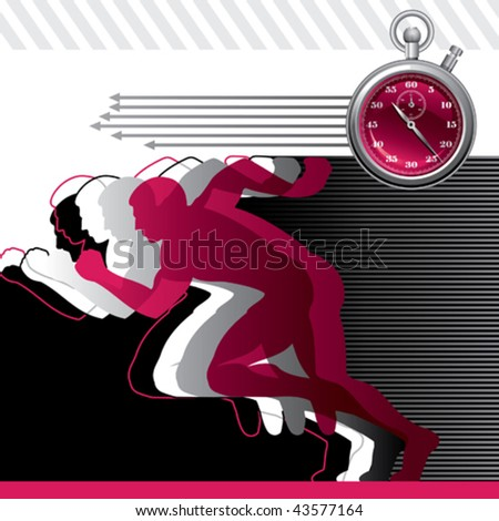 Background with runners and stop watch. Vector illustration. - stock vector