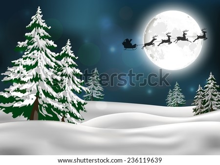 Background with Santa's sleigh - stock vector