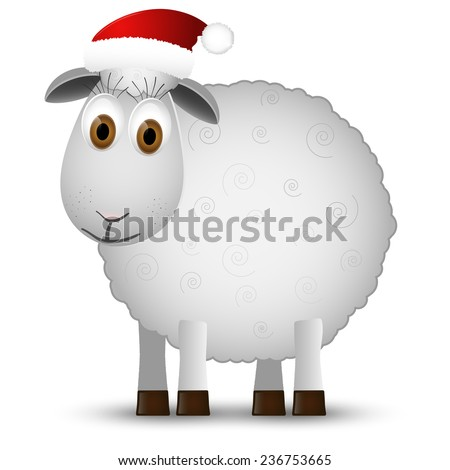 Background with Santa sheep isolated on white background. Vector illustration. - stock vector