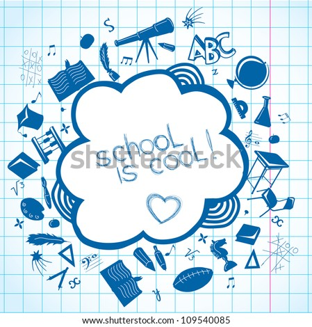 Background with  school accessories - stock vector