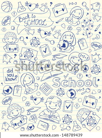 Background With School Symbols On Copy-Book Page - stock vector