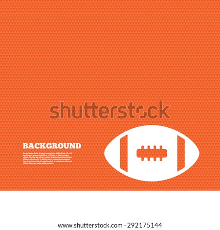 Background with seamless pattern. American football sign icon. Team sport game symbol. Triangles orange texture. Vector