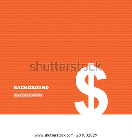 Background with seamless pattern. Dollars sign icon. USD currency symbol. Money label. Triangles orange texture. Vector - stock vector