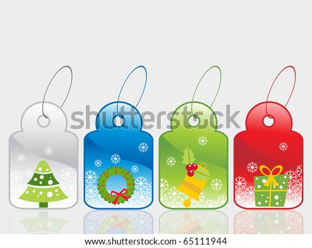background with set of colorful christmas sale tag