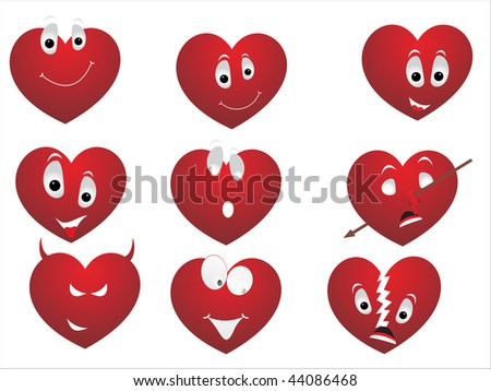 background with set of funky red heart making face