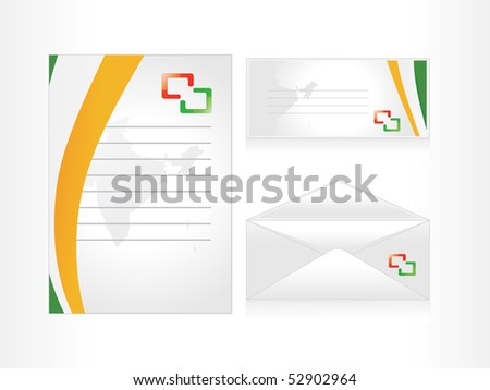 background with set of postal card, letterhead, envelop - stock vector
