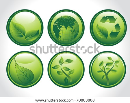 background with set of six go green concept icons, illustration - stock vector
