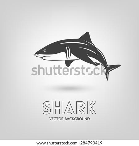 Background with shark monochrome logo. Vector EPS10 illustration.  - stock vector