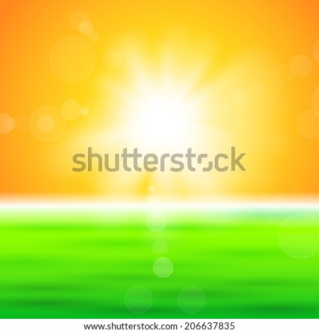 Background with shiny sun with flares over the green field - stock vector