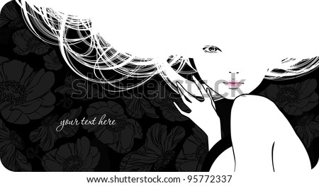 Background with silhouette beautiful girl - stock vector