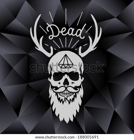 background with skull and horns - stock vector