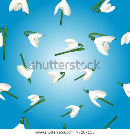 background with snowdrops pattern illustration - stock vector