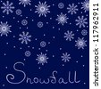 Background with snowflakes and sign snowfall on dark blue - stock vector
