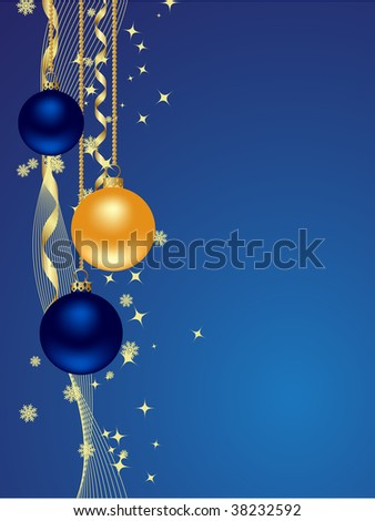 Background with snowflakes, star and decoration. Vector illustration.