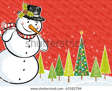 background with snowman and christmas tree in a forest,  vector illustration