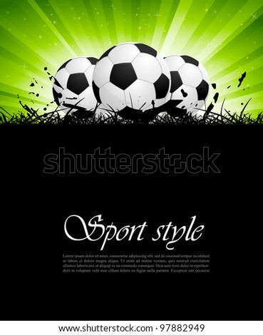 Background with soccer balls and green rays - stock vector