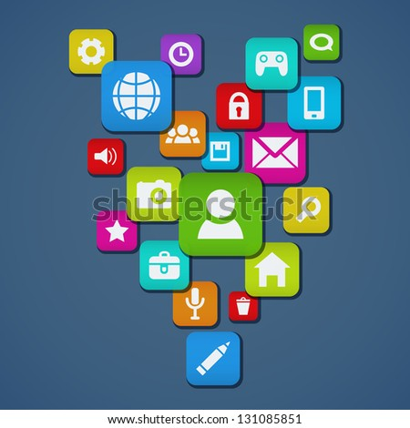 Background  With Social media icons. Vector illustration. - stock vector