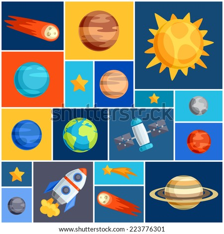 Background with solar system, planets and celestial bodies. - stock vector