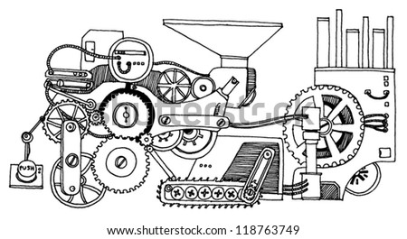 Background With Some Gears - stock vector