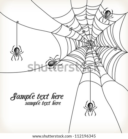 Background with spiders and cobweb. Vector Illustration. - stock vector