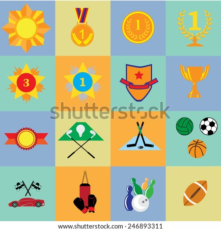 Background with sport and prize icons in flat design style. - stock vector