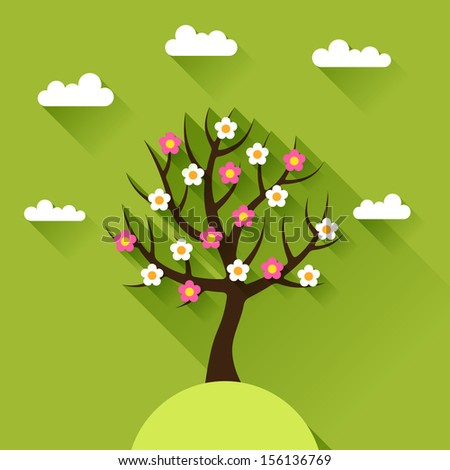 Background with spring tree in flat design style. - stock vector