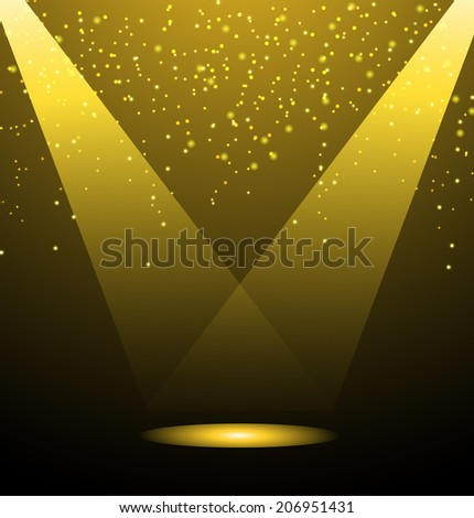Background with stage lights and sparkles, vector illustration - stock vector