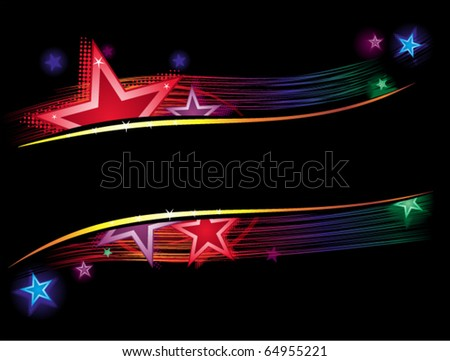 Background with stars and lines in vibrant colors - stock vector