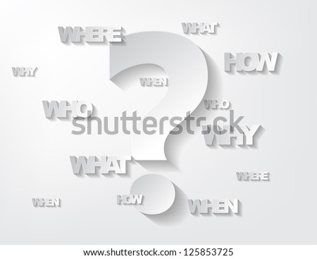 Background with sticker questions and question mark on a white background. - stock vector