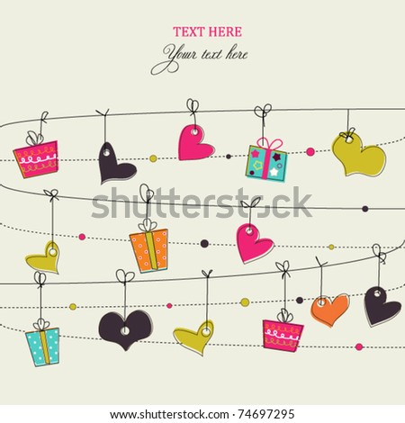 Background with stylish doodle colorful hearts and gift boxes
