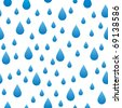background with stylized blue raindrops, seamless - stock vector