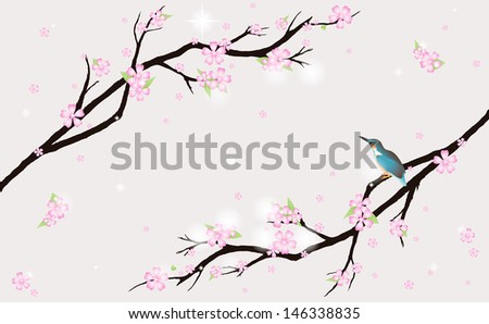 Background with stylized cherry blossom and a bird.