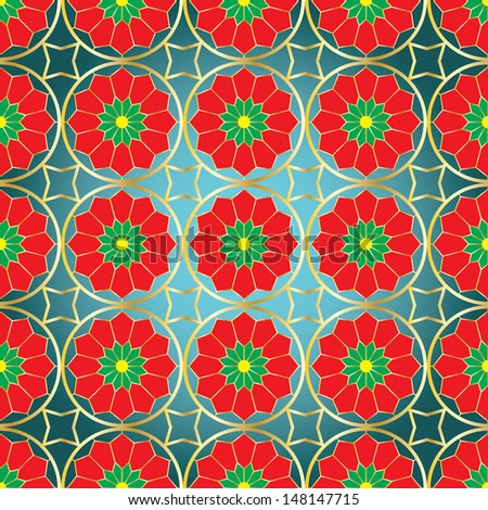 Background with stylized Christmas poinsettias in the form of stained glass - stock vector