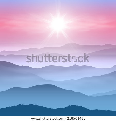 Background with sun and mountains in the fog. EPS10 vector. - stock vector