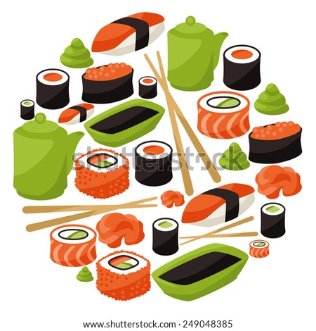 Sushi composition 2 stock vector 270470006 shutterstock for Abis japanese traditional cuisine